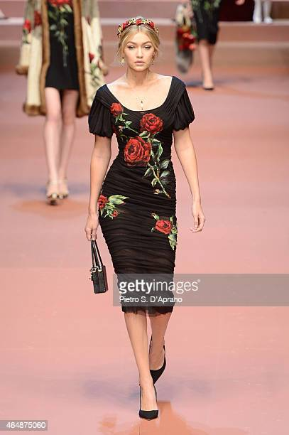 Gigi Hadid walks the runway at the DolceGabbana show during the Milan Fashion Week Autumn/Winter 2015 on March 1 2015 in Milan Italy