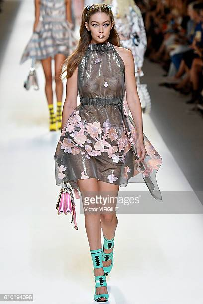 Gigi Hadid walks the runway at the Fendi Ready to Wear designed by Silvia Venturini Fendi Karl Lagerfeld show Milan Fashion Week Spring/Summer 2017...