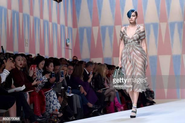 Gigi Hadid walks the runway at the Fendi show during Milan Fashion Week Spring/Summer 2018 on September 21 2017 in Milan Italy