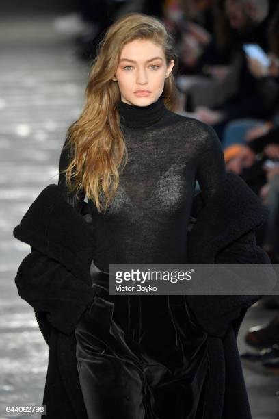 Gigi Hadid walks the runway at the Max Mara show during Milan Fashion Week Fall/Winter 2017/18 on February 23 2017 in Milan Italy