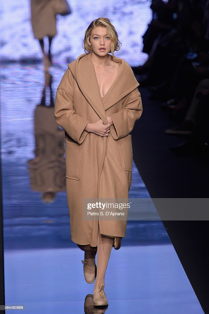 Gigi Hadid walks the runway at the Max Mara show during the Milan Fashion Week Autumn/Winter 2015 on February 26 2015 in Milan Italy