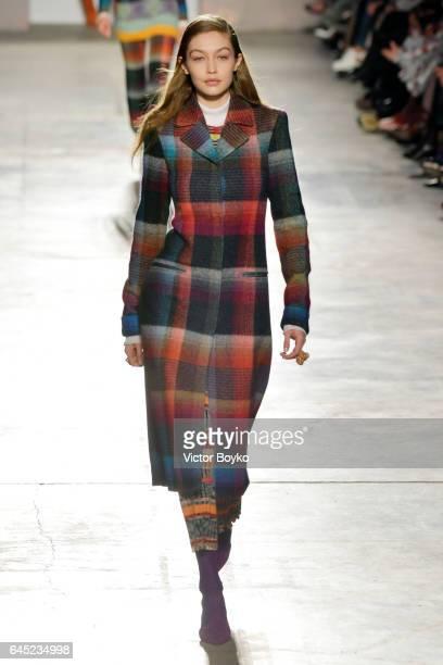 Gigi Hadid walks the runway at the Missoni show during Milan Fashion Week Fall/Winter 2017/18 on February 25 2017 in Milan Italy