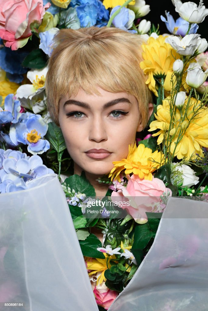 Gigi Hadid walks the runway at the Moschino show during Milan Fashion Week Spring/Summer 2018 on September 21, 2017 in Milan, Italy.