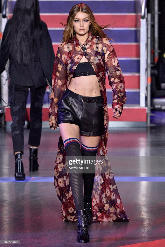Gigi Hadid walks the runway at the Tommy Hilfiger Ready to Wear Spring/Summer 2018 fashion show during London Fashion Week September 2017 on September 19, 2017 in London, England