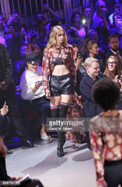 Gigi Hadid walks the runway at the Tommy Hilfiger TOMMYNOW Fall 2017 Show during London Fashion Week September 2017 at The Roundhouse on September 19...