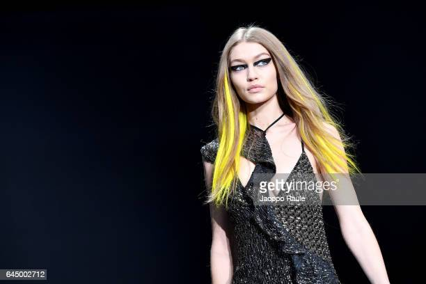 Gigi Hadid walks the runway at the Versace show during Milan Fashion Week Fall/Winter 2017/18 on February 24 2017 in Milan Italy