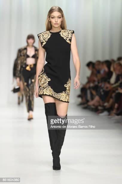 Gigi Hadid walks the runway at the Versace show during Milan Fashion Week Spring/Summer 2018 on September 22 2017 in Milan Italy