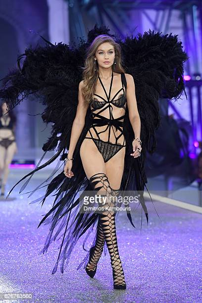 Gigi Hadid walks the runway during the 2016 Victoria's Secret Fashion Show on November 30 2016 in Paris France