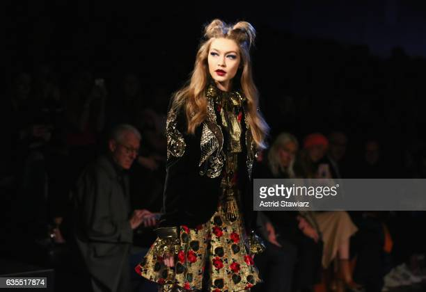 Gigi Hadid walks the runway during the Anna Sui fashion show during New York Fashion Week The Shows at Gallery 1 Skylight Clarkson Sq on February 15...