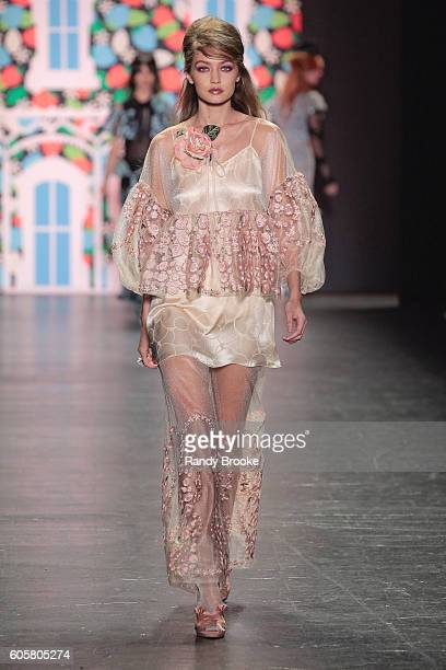 Gigi Hadid walks the runway during the Anna Sui September 2016 New York Fashion Week The Shows Spring 2017 season at The Arc Skylight at Moynihan...
