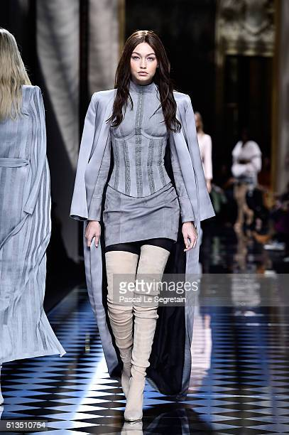 Gigi Hadid walks the runway during the Balmain show as part of the Paris Fashion Week Womenswear Fall/Winter 2016/2017 on March 3 2016 in Paris France