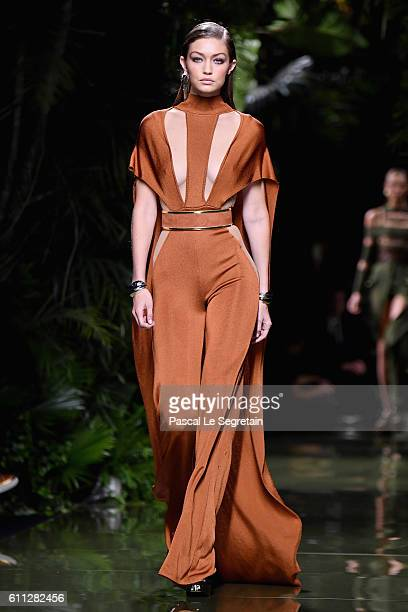 Gigi Hadid walks the runway during the Balmain show as part of the Paris Fashion Week Womenswear Spring/Summer 2017 on September 29 2016 in Paris...