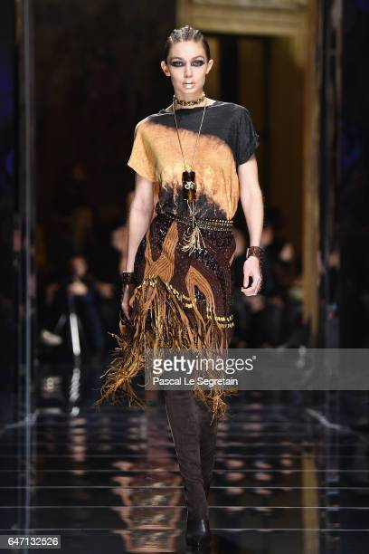 Gigi Hadid walks the runway during the Balmain show as part of the Paris Fashion Week Womenswear Fall/Winter 2017/2018 on March 2 2017 in Paris France