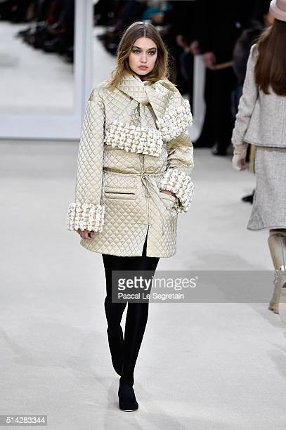 Gigi Hadid walks the runway during the Chanel show as part of the Paris Fashion Week Womenswear Fall/Winter 2016/2017 on March 8 2016 in Paris France