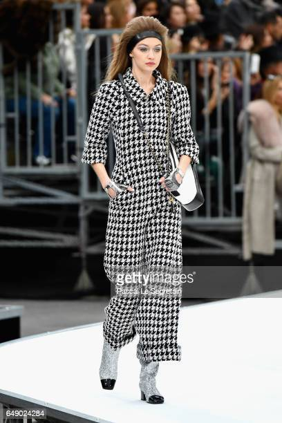 Gigi Hadid walks the runway during the Chanel show as part of the Paris Fashion Week Womenswear Fall/Winter 2017/2018 on March 7 2017 in Paris France