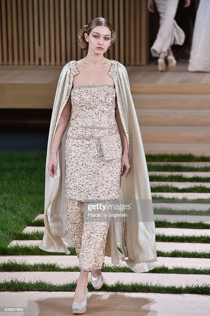 Gigi Hadid walks the runway during the Chanel Spring Summer 2016 show as part of Paris Fashion Week on January 26 2016 in Paris France