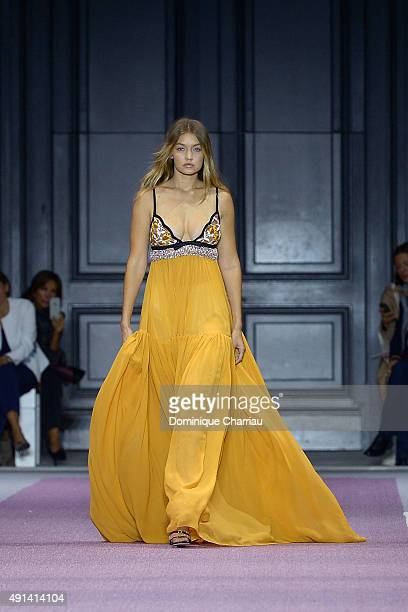 Gigi Hadid walks the runway during the Giambattista Valli show as part of the Paris Fashion Week Womenswear Spring/Summer 2016 on October 5 2015 in...
