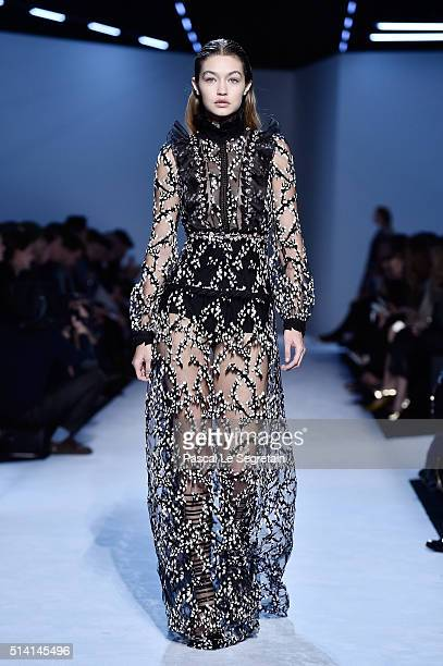Gigi Hadid walks the runway during the Giambattista Valli show as part of the Paris Fashion Week Womenswear Fall/Winter 2016/2017 on March 7 2016 in...