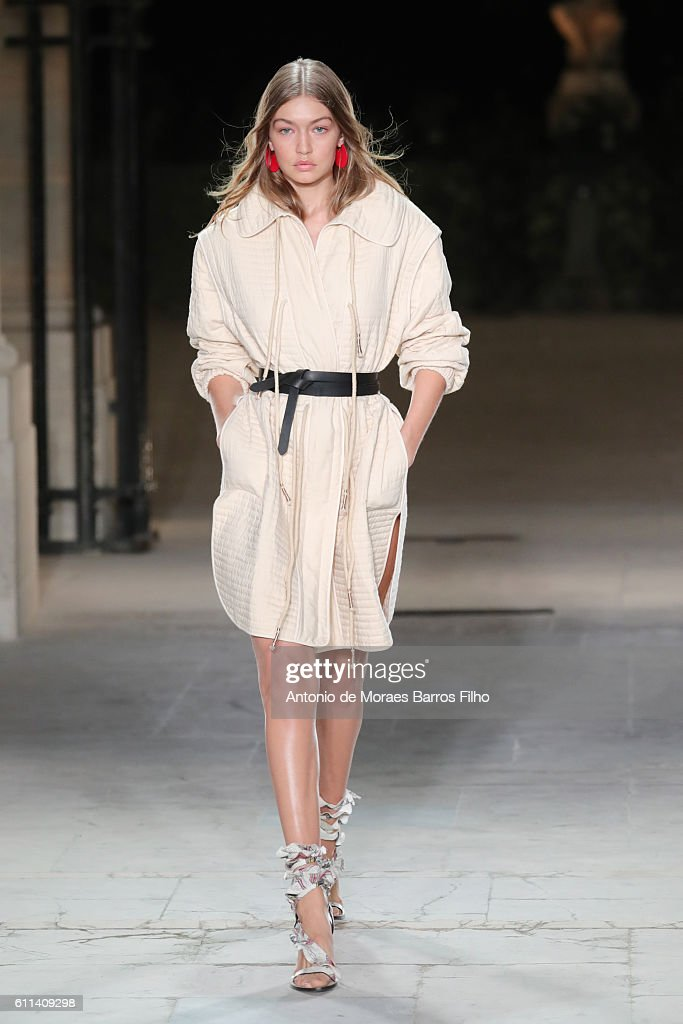 Gigi Hadid walks the runway during the Isabel Marant show as part of the Paris Fashion Week Womenswear Spring/Summer 2017 on September 29, 2016 in Paris, France.