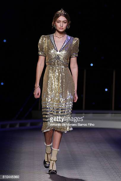 Gigi Hadid walks the runway during the Tommy Hilfiger Women's show as a part of Fall 2016 New York Fashion Week at Park Avenue Armory on February 15...