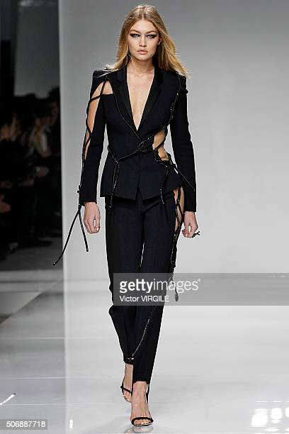 Gigi Hadid walks the runway during the Versace Haute Couture Spring Summer 2016 show as part of Paris Fashion Week on January 24 2016 in Paris France