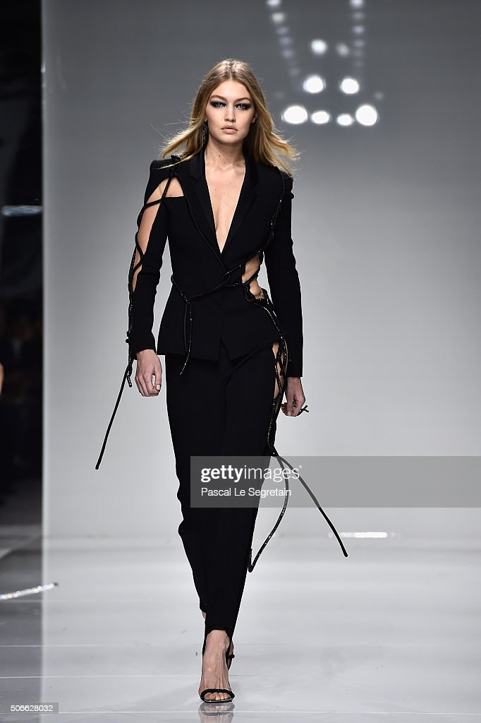 Gigi Hadid walks the runway during the Versace Spring Summer 2016 show as part of Paris Fashion Week on January 24 2016 in Paris France