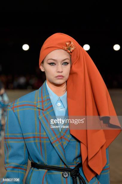 Gigi Hadid walks the runway for Marc Jacobs SS18 fashion show during New York Fashion Week at Park Avenue Armory on September 13 2017 in New York City