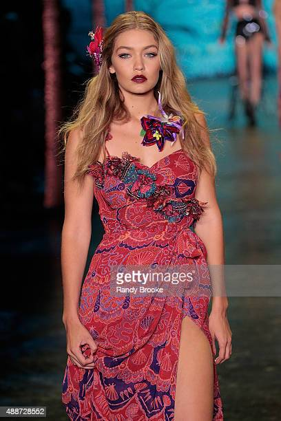 Gigi Hadid walks the runway opening look during the Anna Sui Runway Spring 2016 New York Fashion Week The Shows at The Arc Skylight at Moynihan...