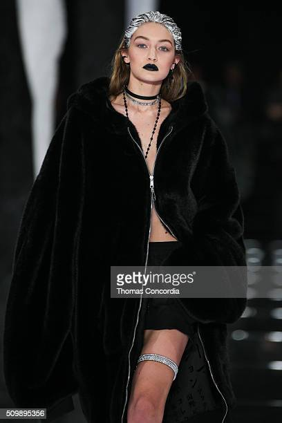 Gigi Hadid walks the runway wearing FENTY x PUMA by Rihanna Fall 2016 on February 12 2016 in New York City