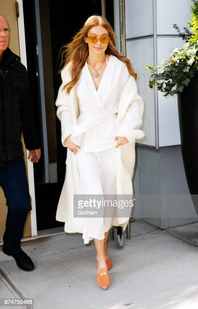 Gigi Hadid wears a bathrobe looking outfit when out and about on November 15 2017 in New York City