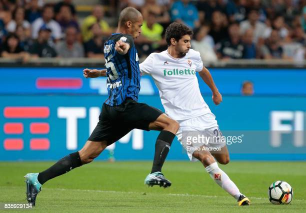 Gil Dias of ACF Fiorentina competes for the ball with Joao Miranda de Souza Filho of FC Internazionale Milano during the Serie A match between FC...
