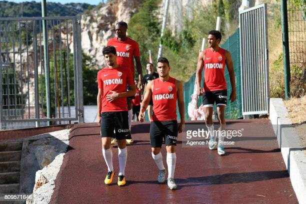 Gil Dias Rony Lopes Terence Kongolo and Jordi Mboula of Monaco during the training session of AS Monaco on July 5 2017 in Monaco Monaco
