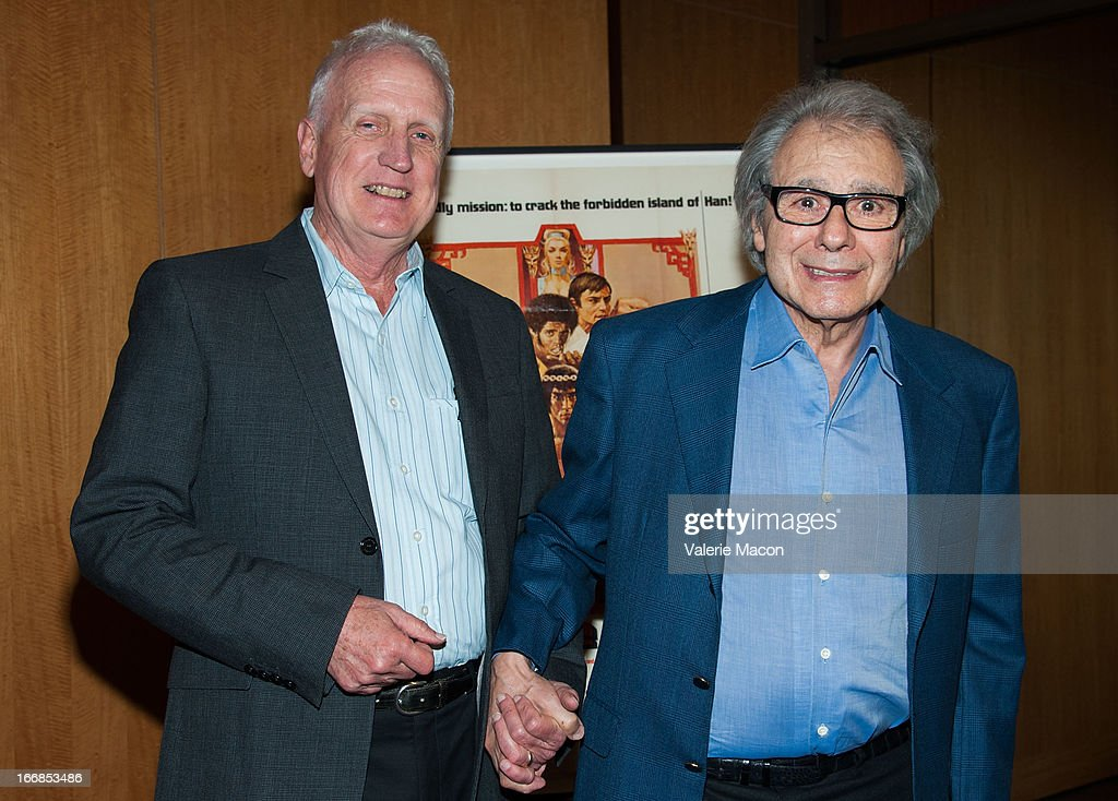 Gil Hubbs and Lalo Schifrin attend The Academy Of Motion Picture Arts And Sciences' 40th Anniversary Screening Of 'Enter The Dragon' at AMPAS Samuel...