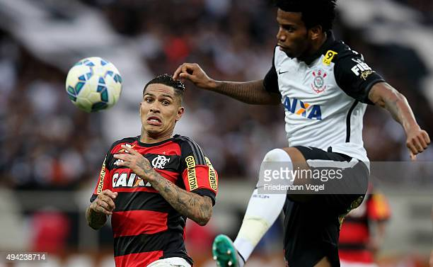 Gil of Corinthians fights for the ball with Guerrero of Flamengo during the match between Corinthians and Flamengo for the Brazilian Series A 2015 at...