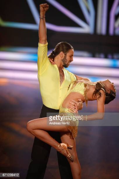 Gil Ofarim and Ekaterina Leonova perform on stage during the 5th show of the tenth season of the television competition 'Let's Dance' on April 21...