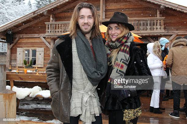 Gil Ofarim and girlfriend Verena Brock attend 'Clicquot in the Snow' on January 24 2014 in Kitzbuehel Austria