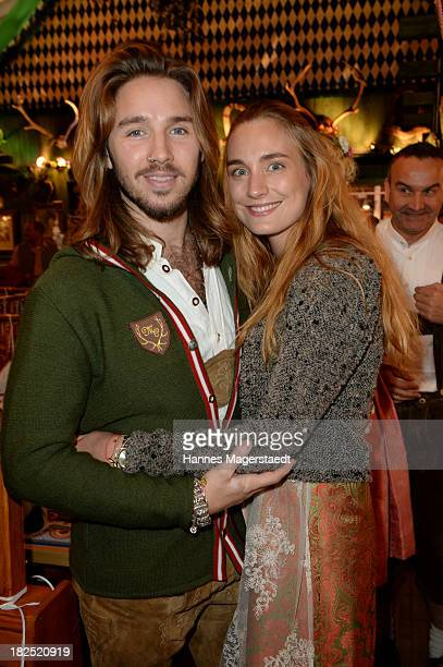 Gil Ofarim and his girlfriend Verena Brock attend the Natascha Gruen Wiesn at Haxenbraterei during the Oktoberfest at Theresienwiese on September 29...