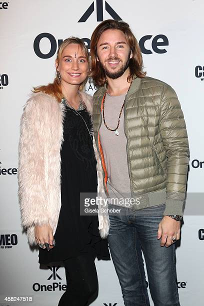 Gil Ofarim and his pregnant girlfriend designer Verena Brock attend the 'Comfort Brings Confidence' OnePiece Launch Party at P1 on November 1 2014 in...