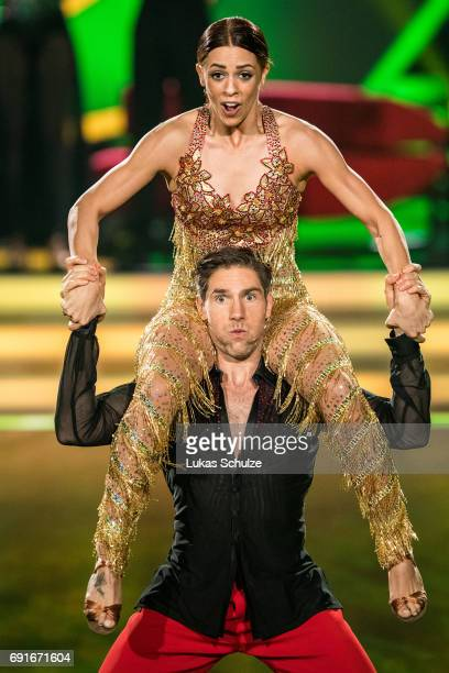 Gil Vanessa Mai and Christian Polanc perform on stage during the semi final of the tenth season of the television competition 'Let's Dance' on June 2...