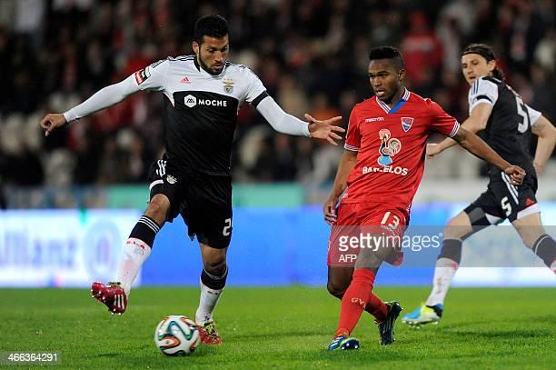 Gil Vicente's Cape Verdean forward Armindo Furtado 'Brito' vies with Benfica's Argentine defender Ezequiel Garay during the Portuguese league...