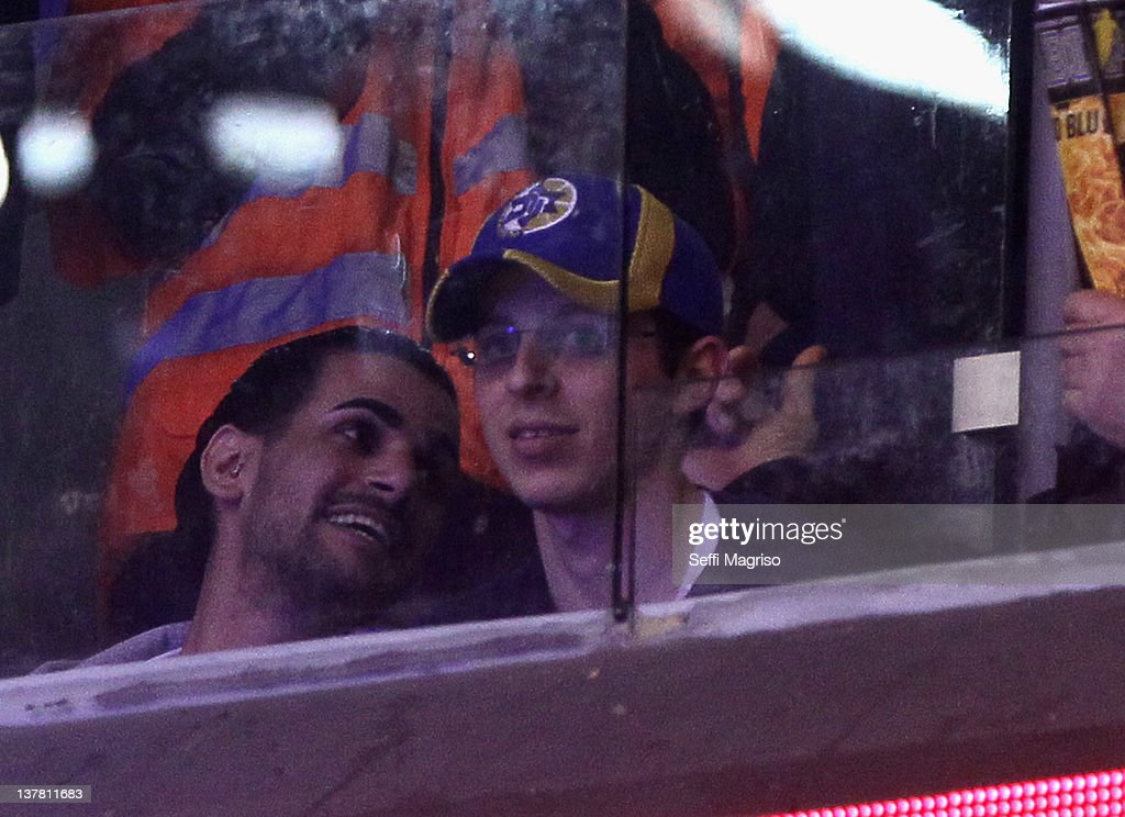 <a gi-track='captionPersonalityLinkClicked' href=/galleries/search?phrase=Gilad+Shalit&family=editorial&specificpeople=537101 ng-click='$event.stopPropagation()'>Gilad Shalit</a> attends Maccabi Tel Aviv basketball game during 2011-2012 Turkish Airlines Euroleague TOP 16 Game Day 2 between Maccabi Electra Tel Aviv v FC Barcelona Regal at Nokia Arena on January 26, 2012 in Tel Aviv, Israel.