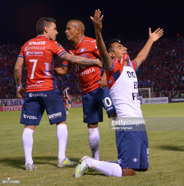 Gilbert Alvarez of Wilstermann celebrates after scoring the second goal of his team during a first leg match between Wilstermann and River Plate as...