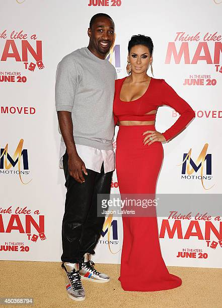 Gilbert Arenas and Laura Govan attend the premiere of 'Think Like A Man Too' at TCL Chinese Theatre on June 9 2014 in Hollywood California