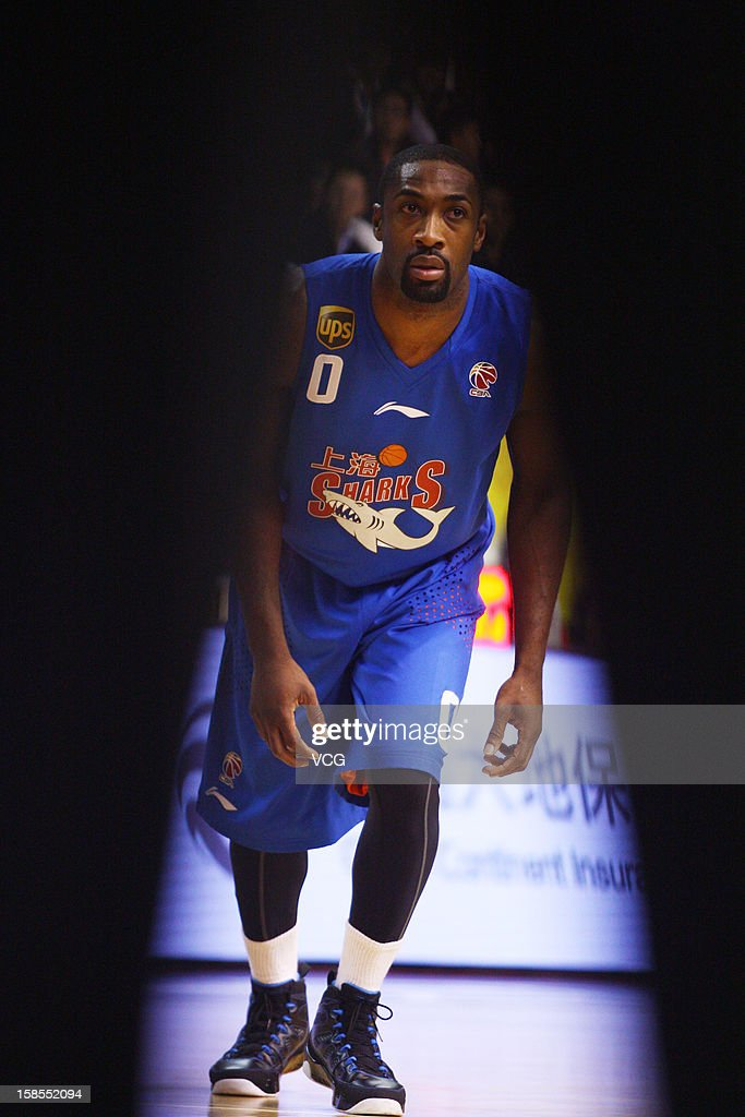 <a gi-track='captionPersonalityLinkClicked' href=/galleries/search?phrase=Gilbert+Arenas&family=editorial&specificpeople=201742 ng-click='$event.stopPropagation()'>Gilbert Arenas</a> #0 of Shanghai Sharks in action during the 11th round of the CBA 12/13 game against Guangdong Southern Tigers at Dongguan Stadium on December 18, 2012 in Donggang, China.