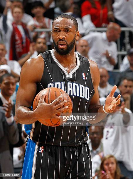Gilbert Arenas of the Orlando Magic against the Atlanta Hawks during Game Six of the Eastern Conference Quarterfinals in the 2011 NBA Playoffs at...