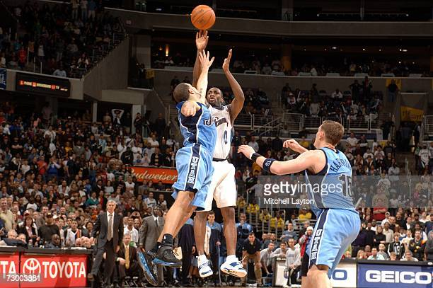 Gilbert Arenas of the Washington WIzards hits the winning shot at the buzzer against the Utah Jazz on January 15 2007 at the Verizon Center in...