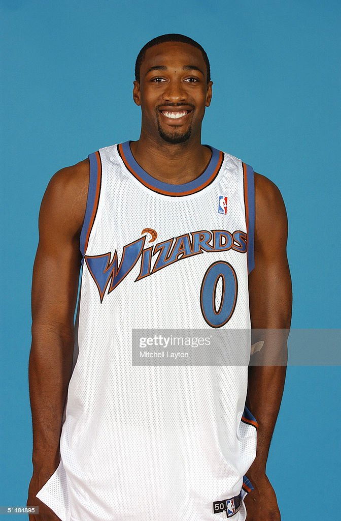 Gilbert Arenas #0 of the Washington Wizards poses for a portrait during NBA Media Day on October 4, 2004 in Washington, D.C.