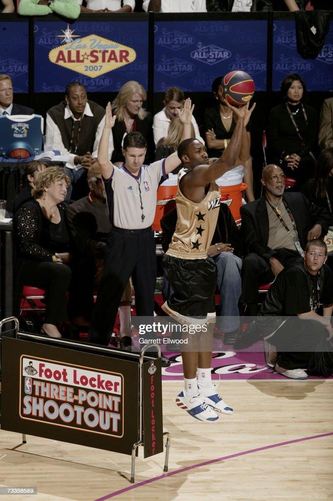 Gilbert Arenas of the Washington Wizards shoots during Footlocker ThreePoint Shootout at NBA AllStar Weekend on February 17 2007 at Thomas Mack...