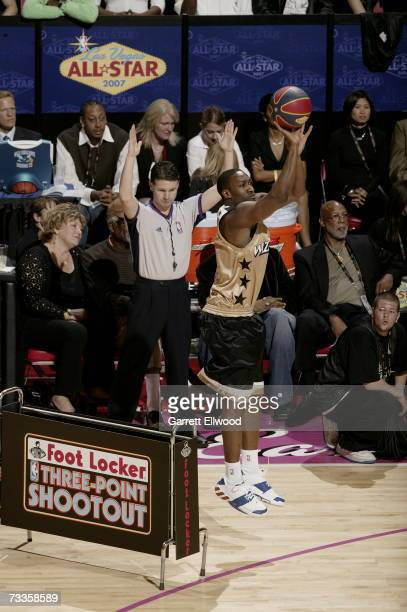 Gilbert Arenas of the Washington Wizards shoots during Footlocker ThreePoint Shootout at NBA AllStar Weekend on February 17 2007 at Thomas Mack...