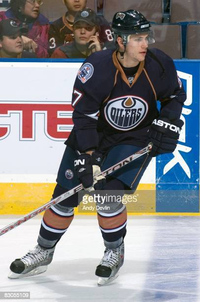 Gilbert Brule of the Edmonton Oilers warms up before a preseason game against the Florida Panthers on September 25 2008 at Rexall Place in Edmonton...